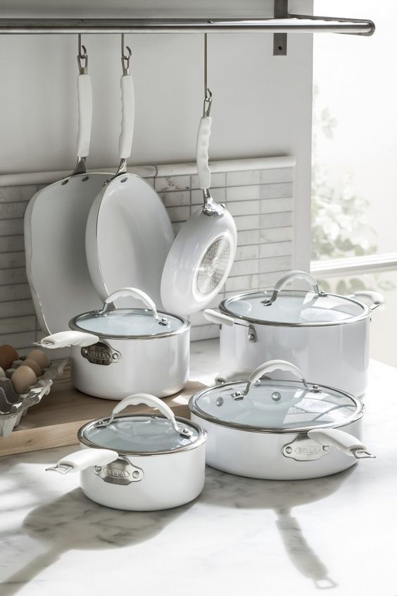 Bella 11 Pc Nonstick Ceramic Cookware Set Pots And Pans
