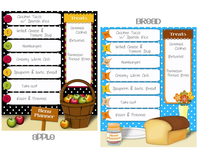 Printable Menu Planner Choice Of One Design 3 00 Via
