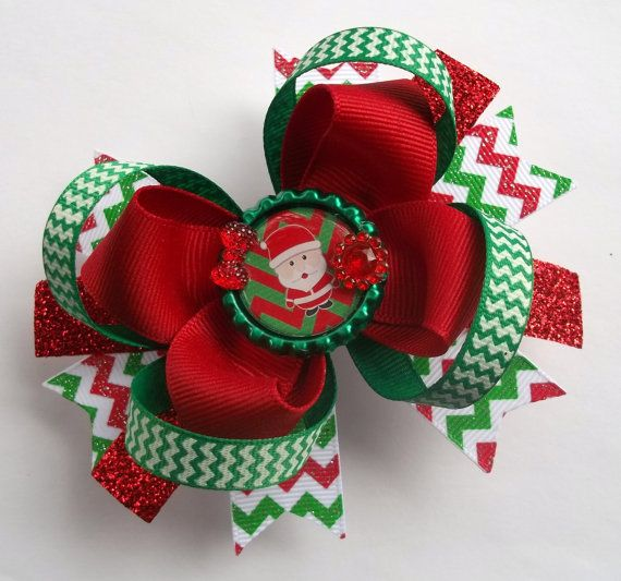christmas hair bow handmade boutique