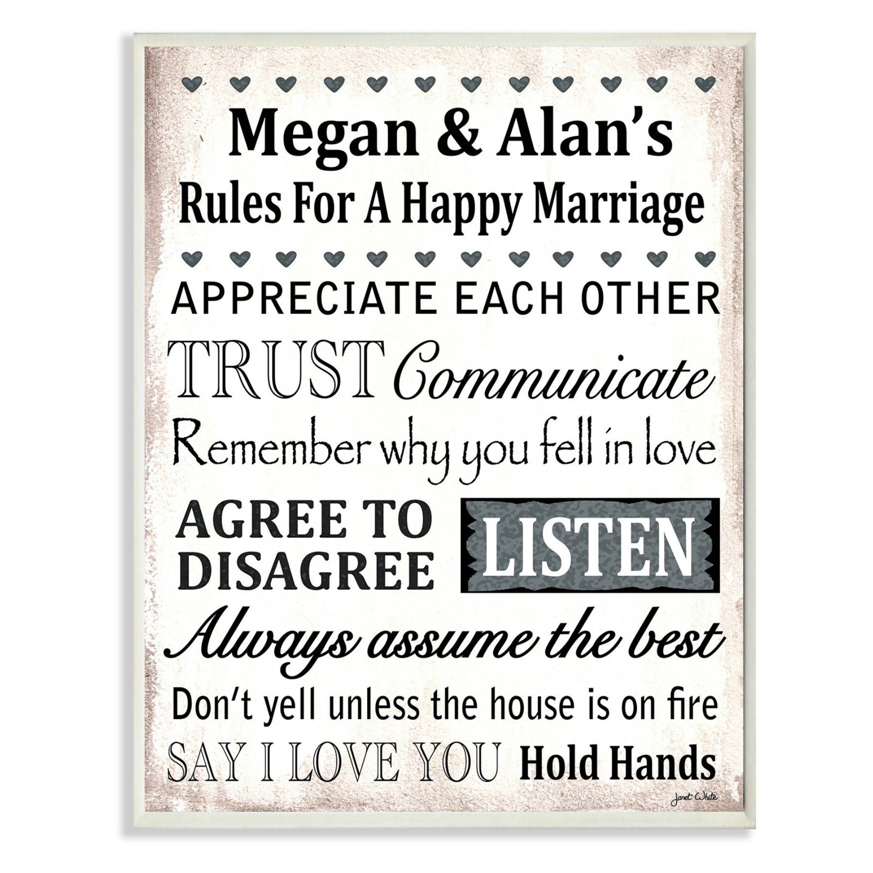 Stupell decor personalized rules for a happy marriage wall plaque
