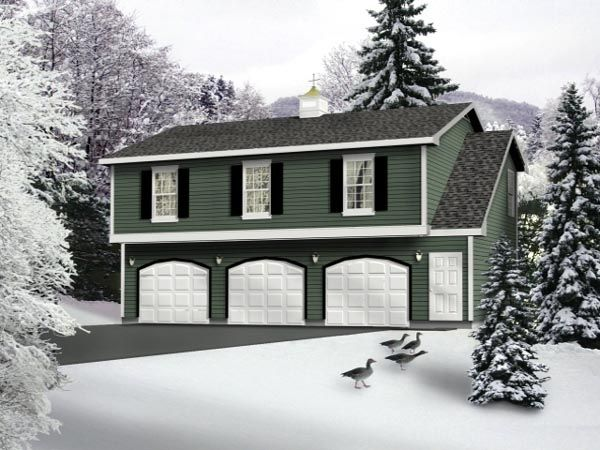 Country Style 3 Car Garage Apartment Plan Number 49029 with 2 Bed, 1 Bath #garageplans