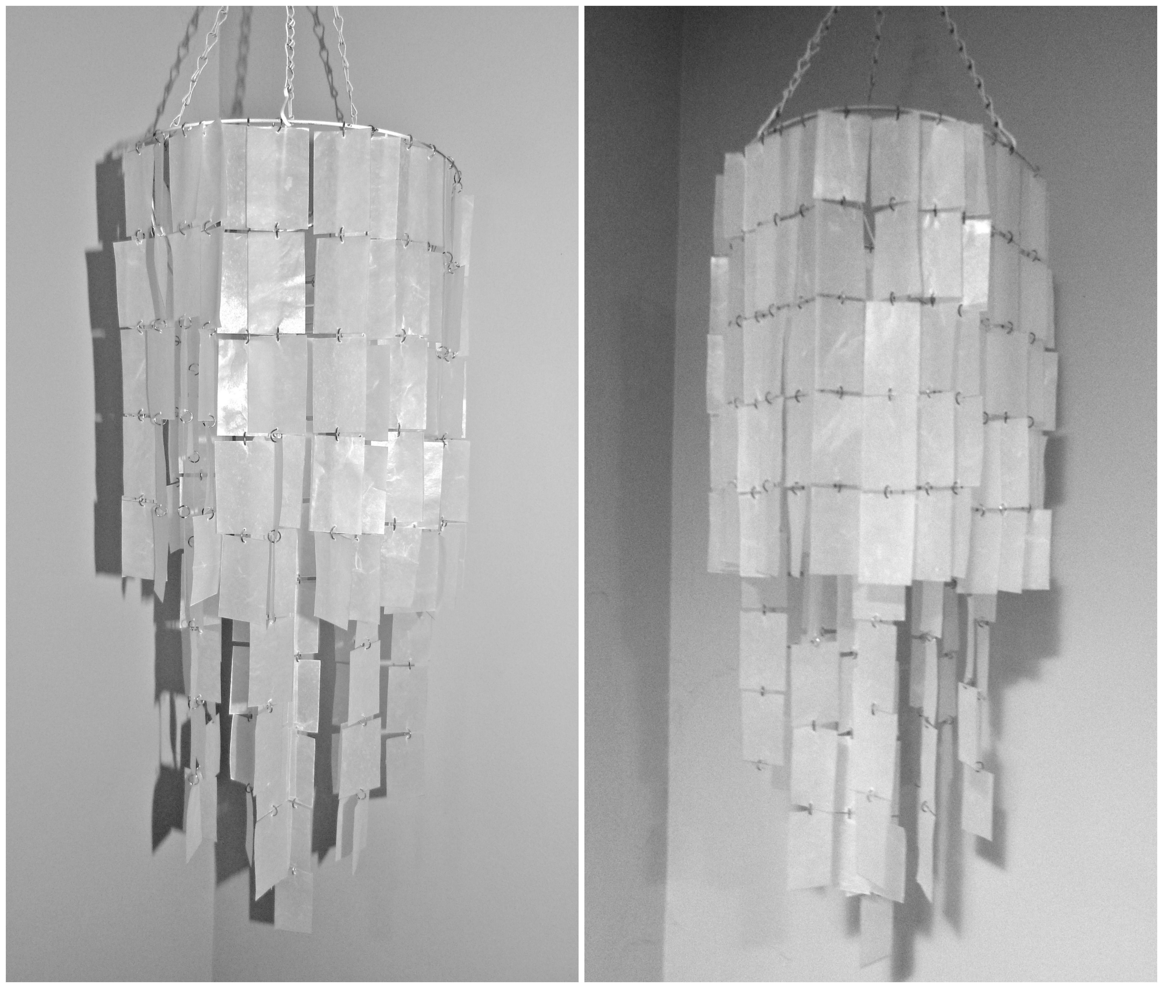 Made my own wax paper chandelier used a hanging basket and a made my own wax paper chandelier used a hanging basket and a package of wax arubaitofo Choice Image