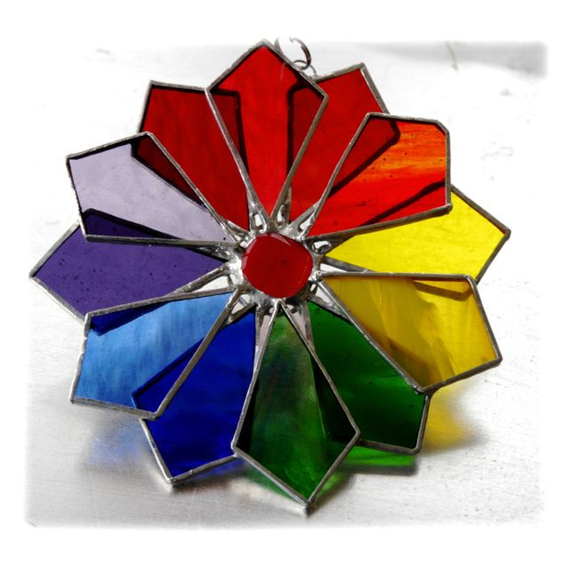Rainbow Windmill Stained Glass Suncatcher Abstract £17.50