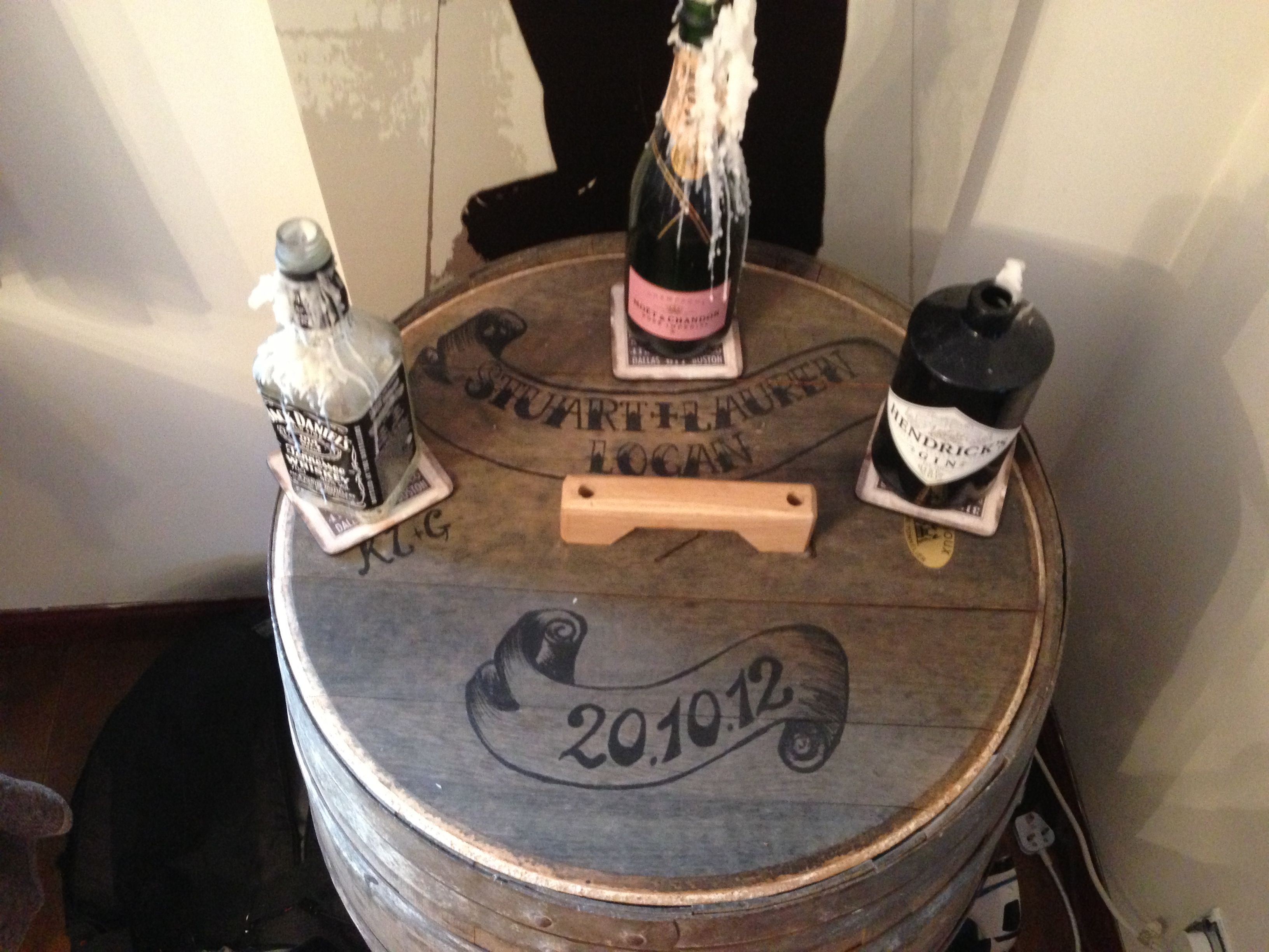 The ultimate wedding present - a personalised wine barrel (drinks cabinet) in the same font as our invites! Lx