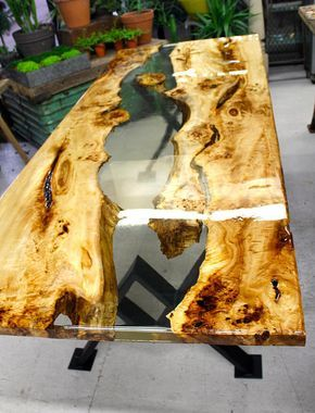 Resin river dining table | Etsy