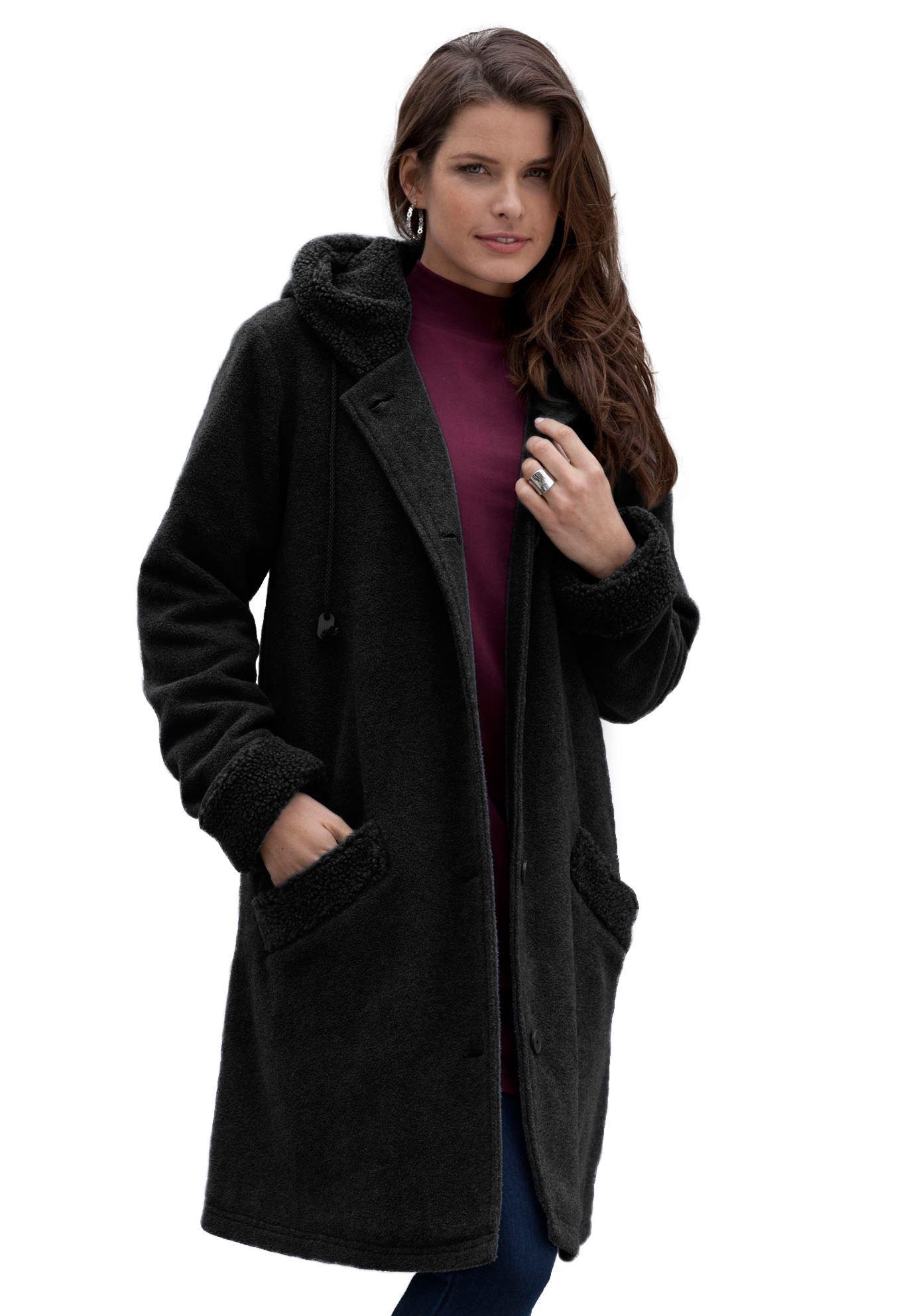 f96cc7d32a145 Plus Size Sherpa Hood Coat image