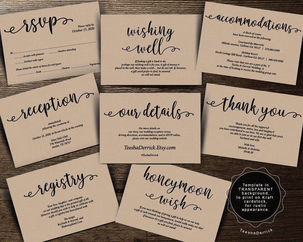 Wedding Invitation Enclosure Cards Template Instant Download Etsy Wedding Invitation Enclosure Cards Wedding Invitation Enclosures Honeymoon Wish