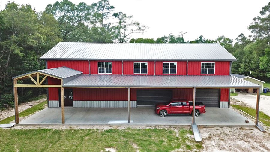 44 x 80 x 22 4/12 roof pitch 26 ga. Crimson Red wall