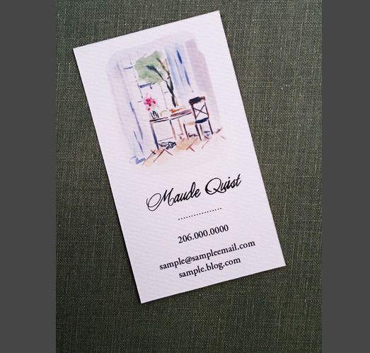interior design writing desk watercolor business card set of 50a pretty watercolor of
