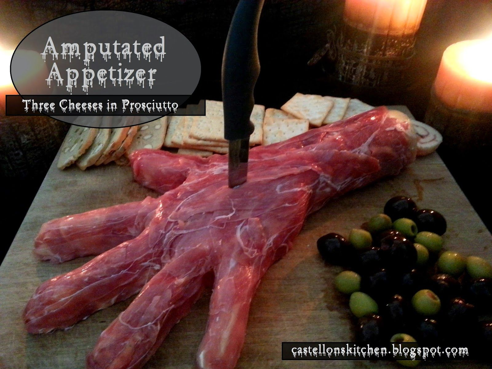 amputated appetizer three cheeses in prosciutto recipe appetizers with goat cheese cream cheese prosciutto mozzarella cheese - Halloween Meat Recipes