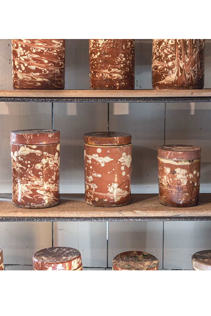 £355 each. Remarkable collection of 19th century Sicilian agateware apothecary pottery jars. Circa Italy 1800.   #antiques #antiquesdealer #antiquesshop #interiordecoration #interiordesign #interiordecorating #antiquescollector #antiquesshop #antiquehome #antique #antiquepottery #potteryjars #storagejars