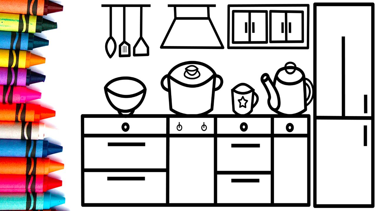 How To Draw Kitchen Kitchen Coloring Drawing For Kids Kids Toy