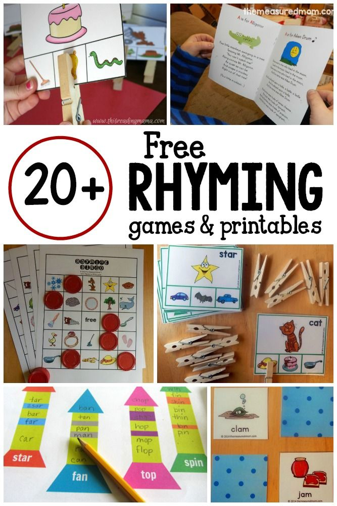 20+ games and free printables for learning rhyming words