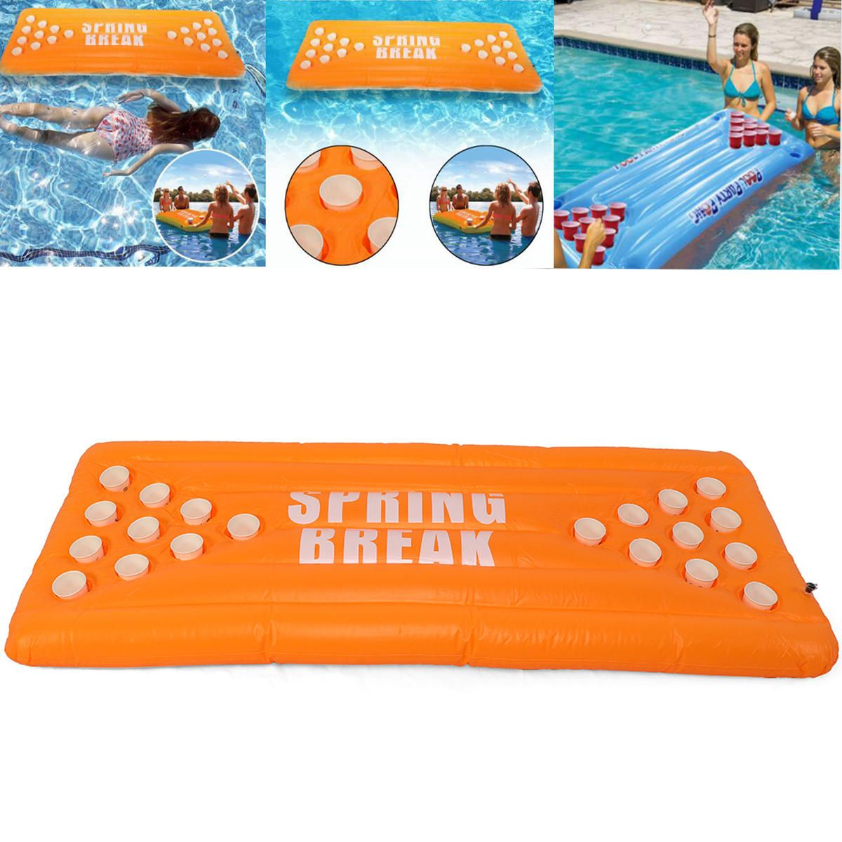 Us 78 68 Inflatable Beer Pong Ball Table Water Floating Raft Lounge Pool Game 20 Cups Holder Outdoor Recreation From Sports Outdoor On Banggood Com