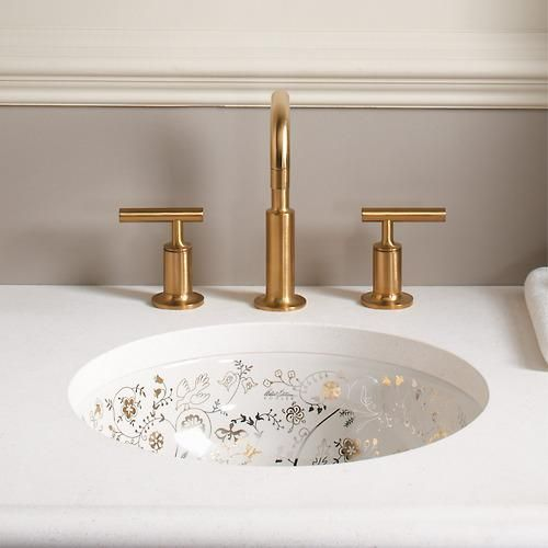 Platinum And Gold Accents Add A Refined Sense Of Luxury To The Milles Fleur Oval Undermount Sink Explore More Of K Bathroom Interior Design Sink Bathroom Sink