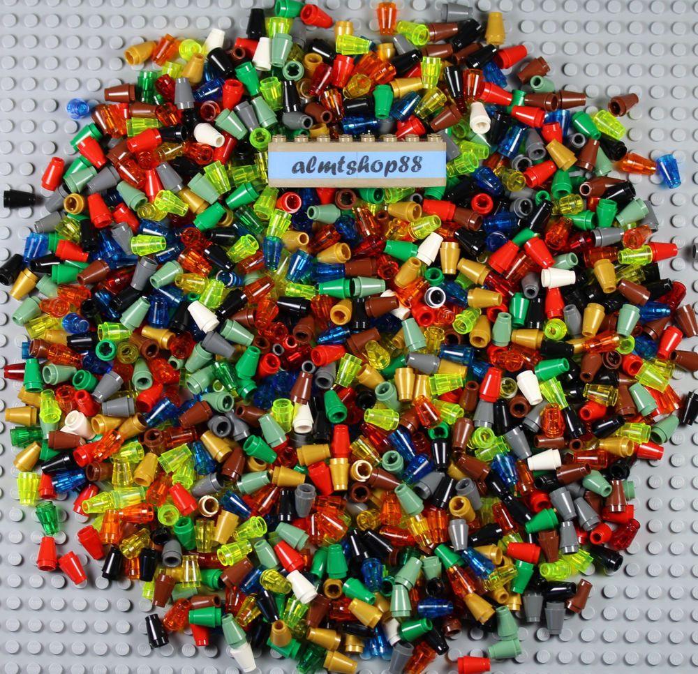 LEGO Lot of 100 Orange 1x1 Round Plate Pieces