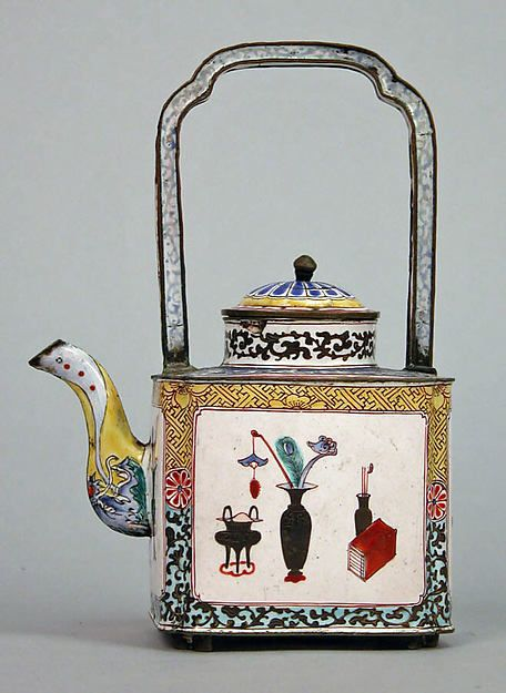"Additional Images (4) Teapot with Pattern of the ""Hundred Antiques"" Period: Qing dynasty (1644–1911) Date: 19th century Culture: China Medium: Painted enamel Dimensions: H. 6 1/2 in. (16.5 cm); W. 2 3/4 in. (7 cm); D. 4 1/2 in. (11.4 cm) Classification: Enamels Credit Line: Bequest of Mary Clark Thompson, 1923 Accession Number: 24.80.483a, b"