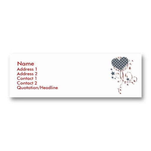 KRW Patriotic Heart Profile Card Business Card Template