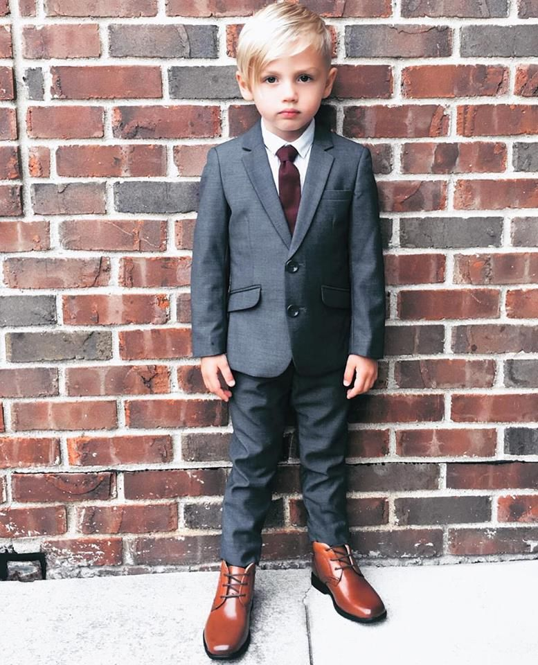 b95cad9e6b836f Black n Bianco Boys Signature Dark Grey Slim Fit Suit for kids of all ages.