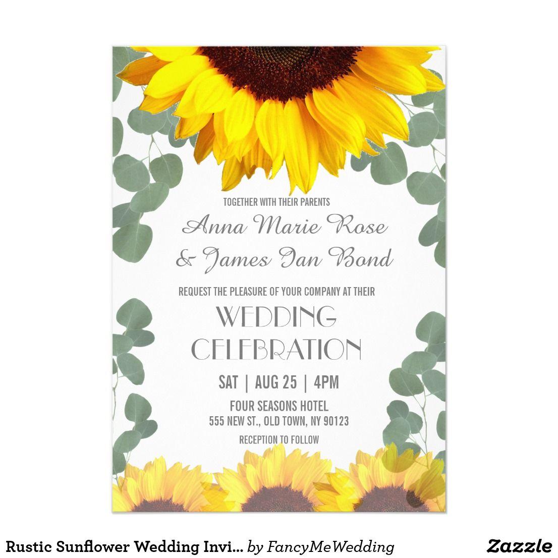 Rustic Sunflower Wedding Invitations Rustic