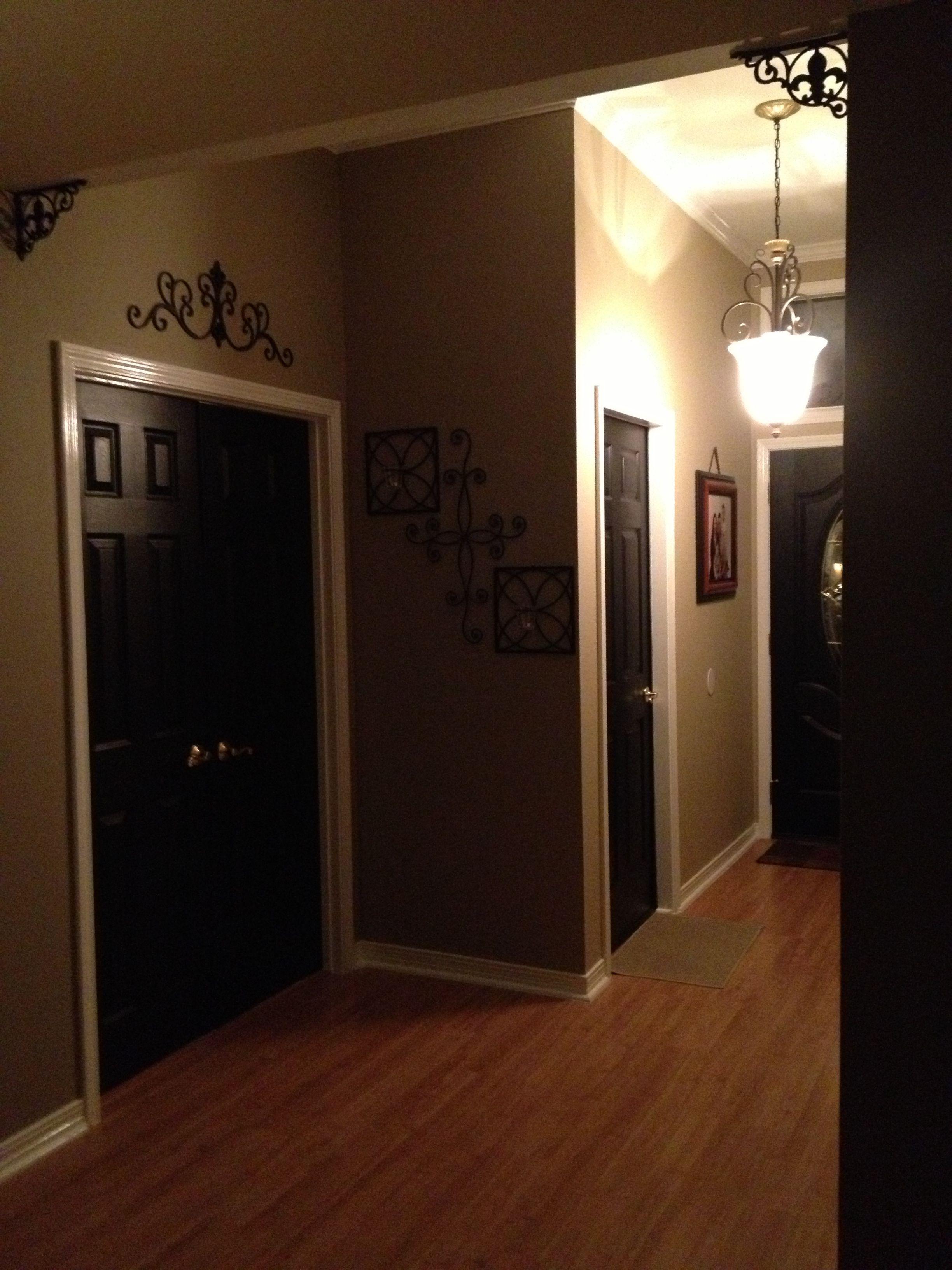 Foyer Interior Wall : Foyer black interior doors white trim cream walls