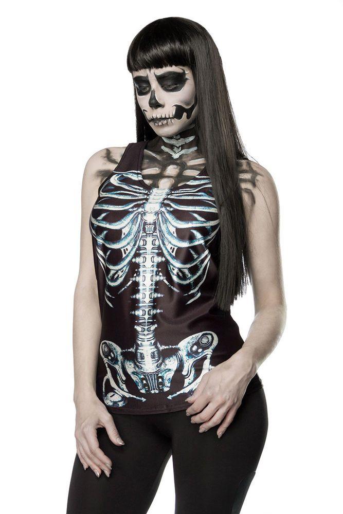 Skelett Top Hallowen Damen Kostüm Karneval Fasching Gr OS