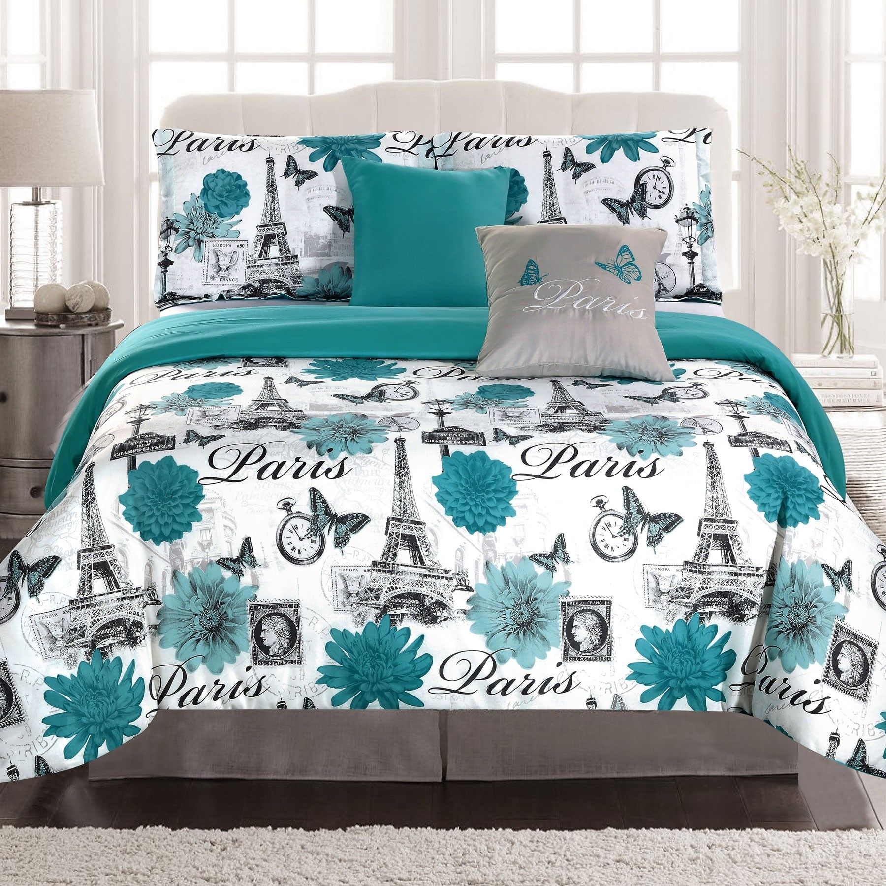 Crest Home Paris Palais Bedding Twin forter 4 Piece Bed Set