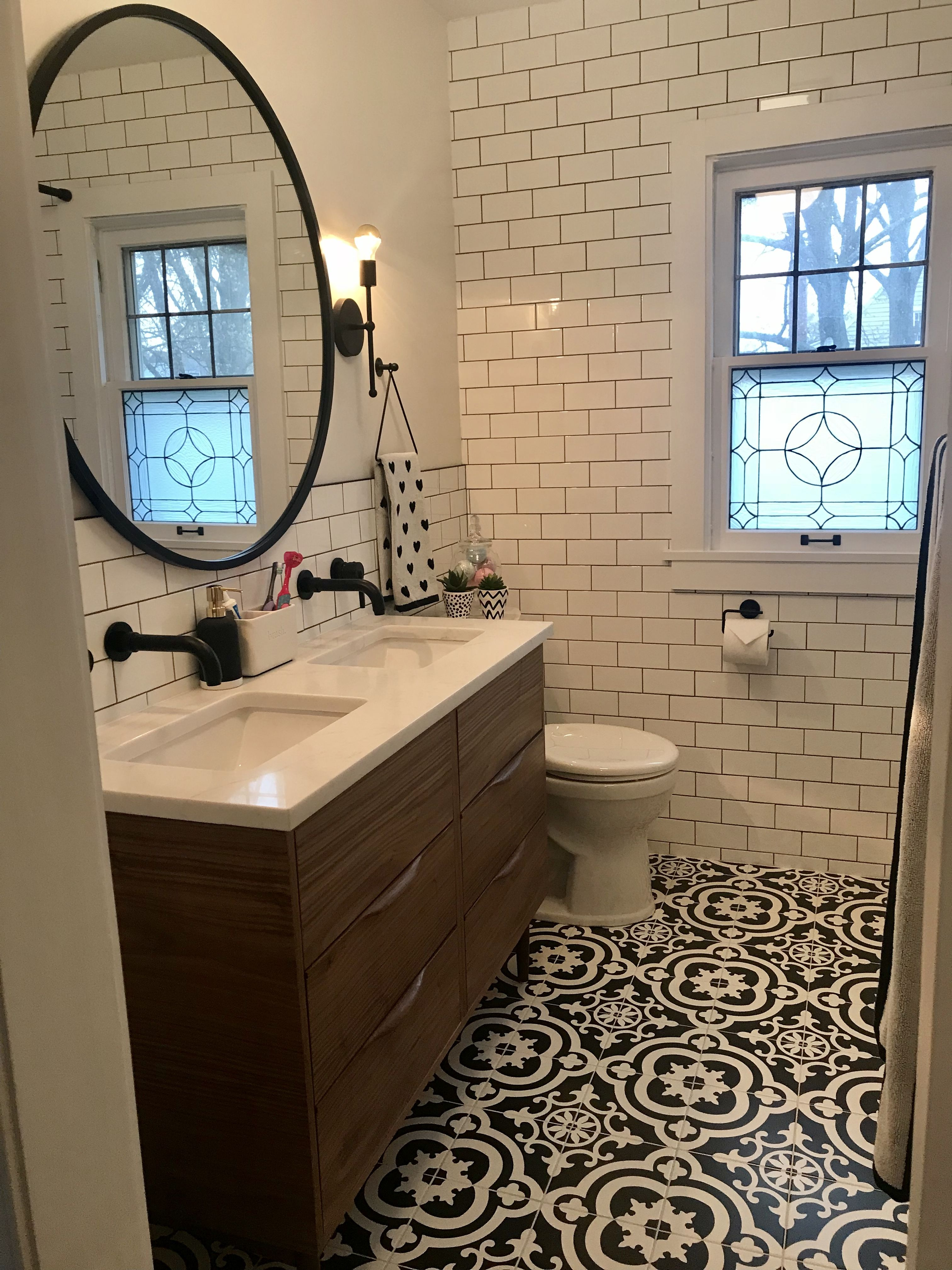 Lowe s cementina black and white floor black and white - Lowe s home improvement bathroom tile ...