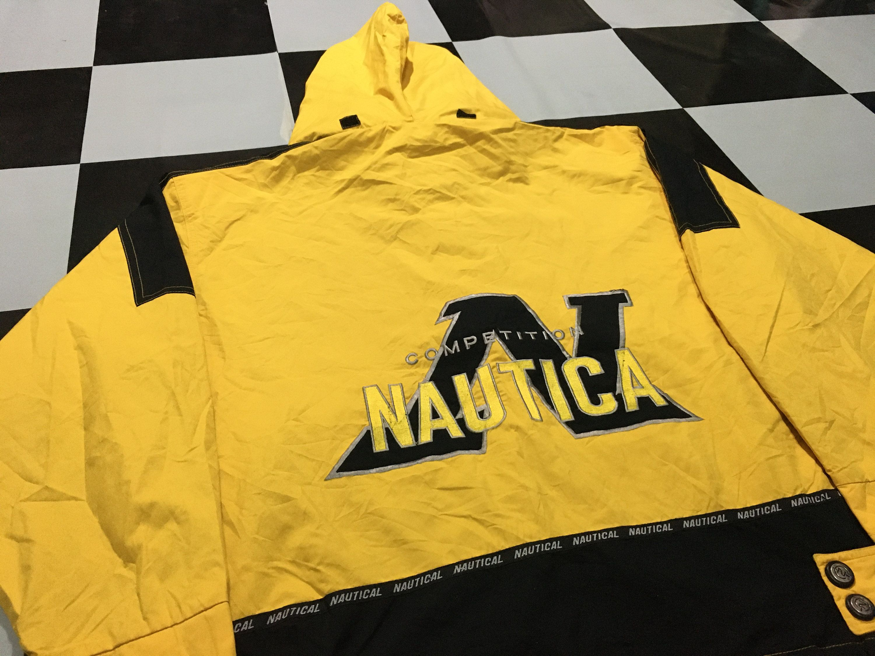 Vintage Nautica Competition Jacket Windbreaker Big Logo Color Block Two Tone Yellow Black Size L By Alivevintageshop On Etsy In 2020 Logo Color Nautica Windbreaker