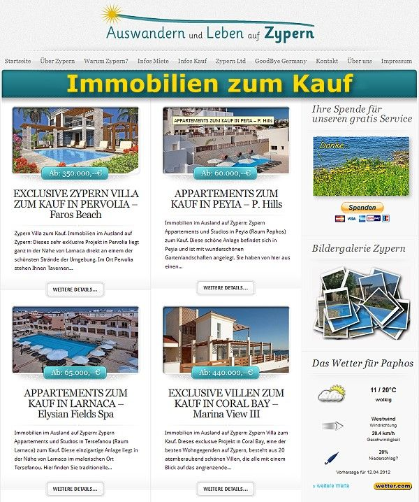 Auswandern und Leben auf Zypern - Immobilien zum Kauf