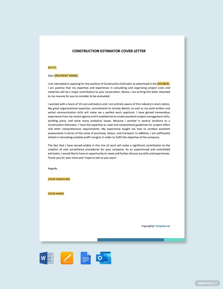Free Construction Estimator Cover Letter Template AD, ,