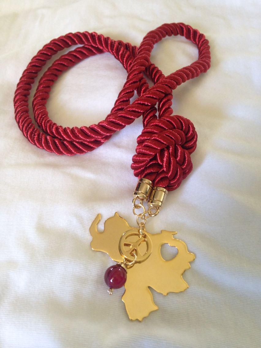 a468e3982d0f Collar Hecho A Mano Con Cordones Rojos Collares - Classycloud.co