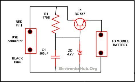 Usb mobile charger circuit projetos usb mobile charger circuit diagram source link httpelectronicshub ccuart