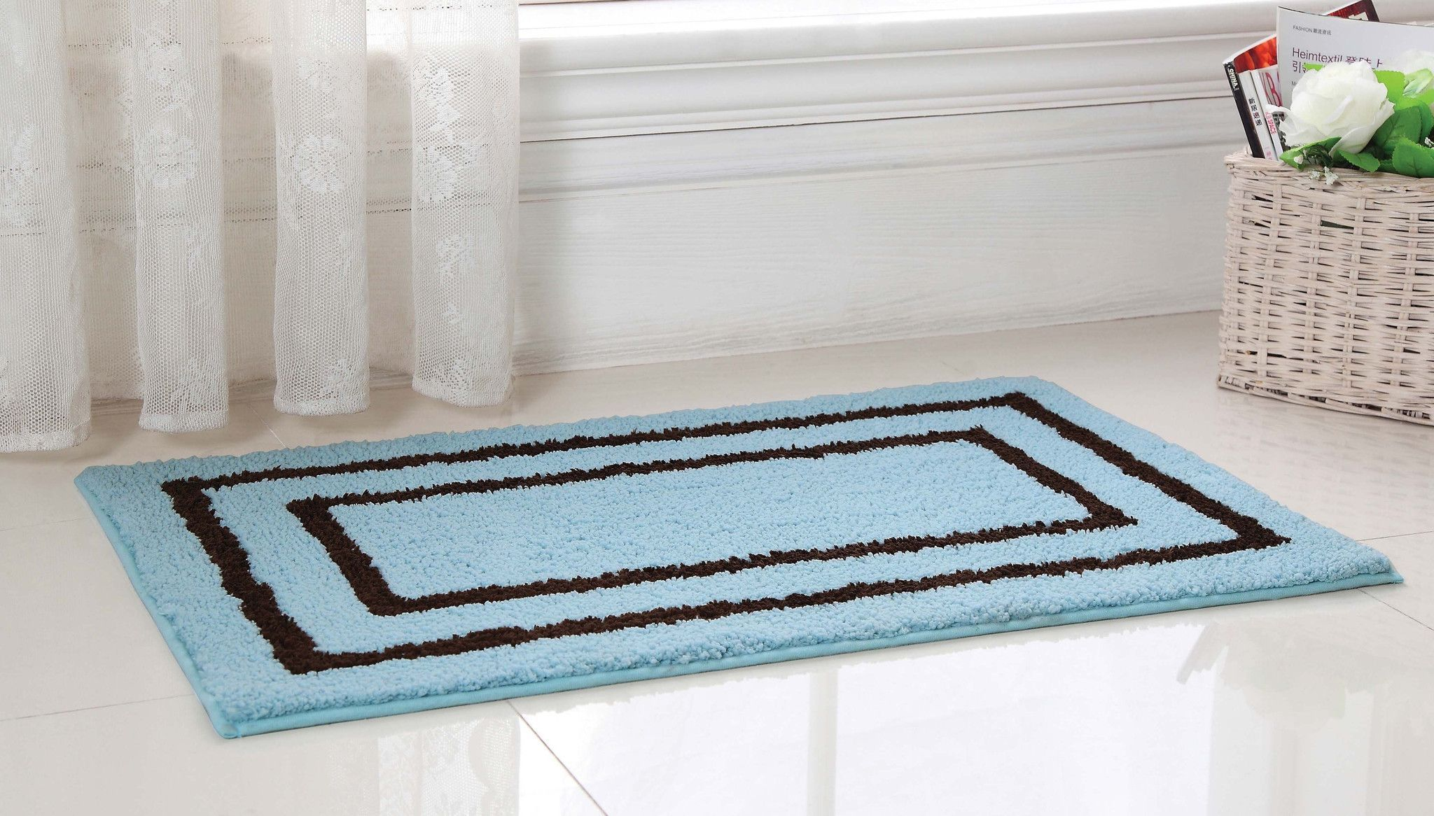 Regency Manor Microfiber Bath Rug X BLUE Brown Products - Blue and brown bath rugs for bathroom decorating ideas