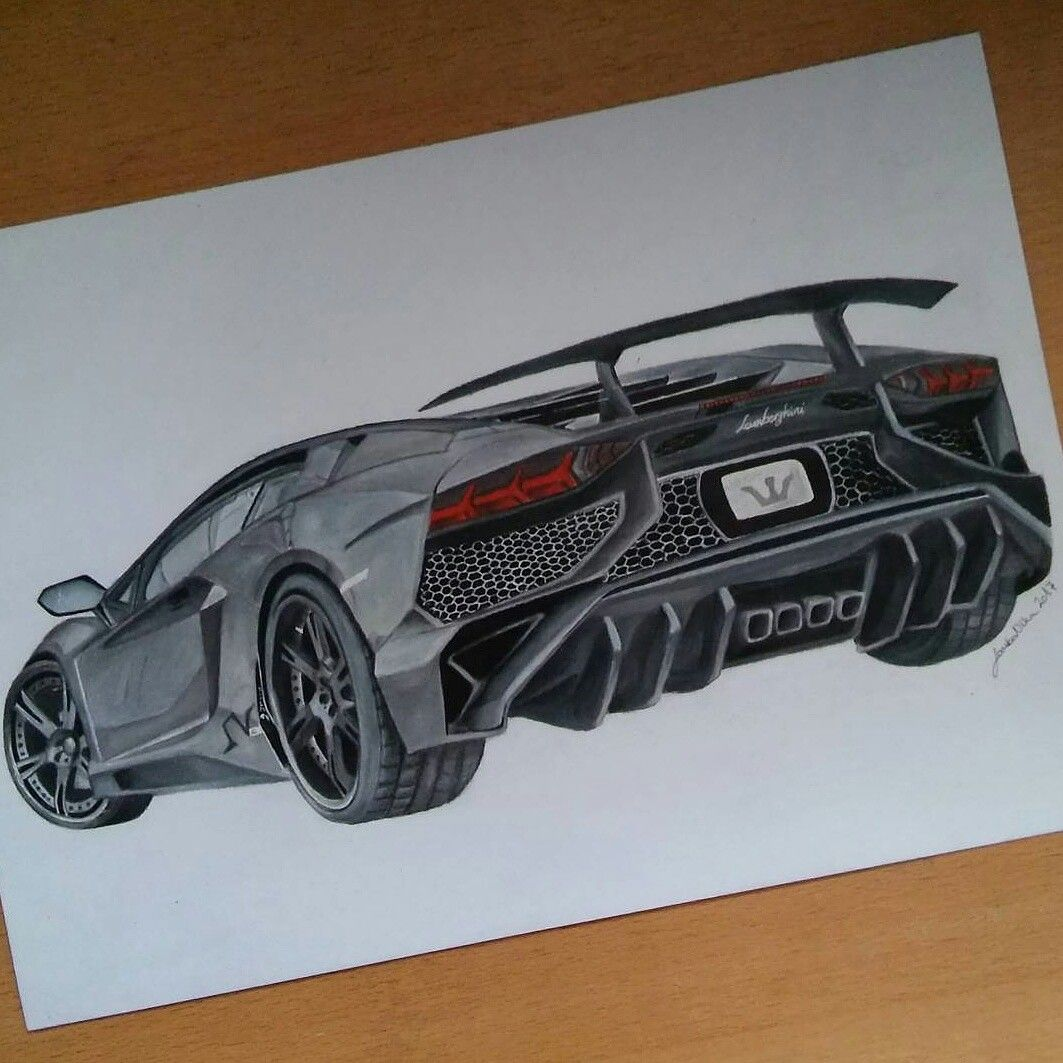 Lamborghini Aventador Colored Pencil Drawing By: @art.by
