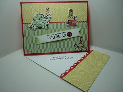 Goin' Over The Edge: Twisted Easel Turtle & Co. card with photo tutorial
