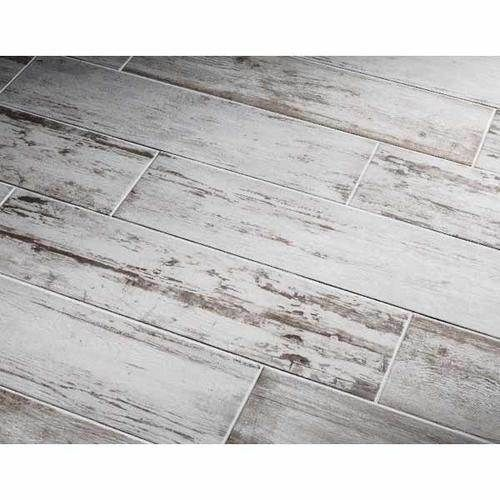 Southend Whitewashed Wood Glazed Porcelain Tile Common: 8-in x 32-in ...