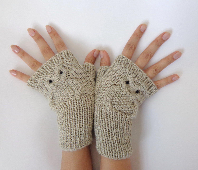 Owl Fingerless Gloves -Knitted Mittens Or Mitts In Cream   Gloves ...