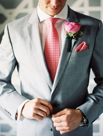 coral silk tie and matching pocket square by cantucci