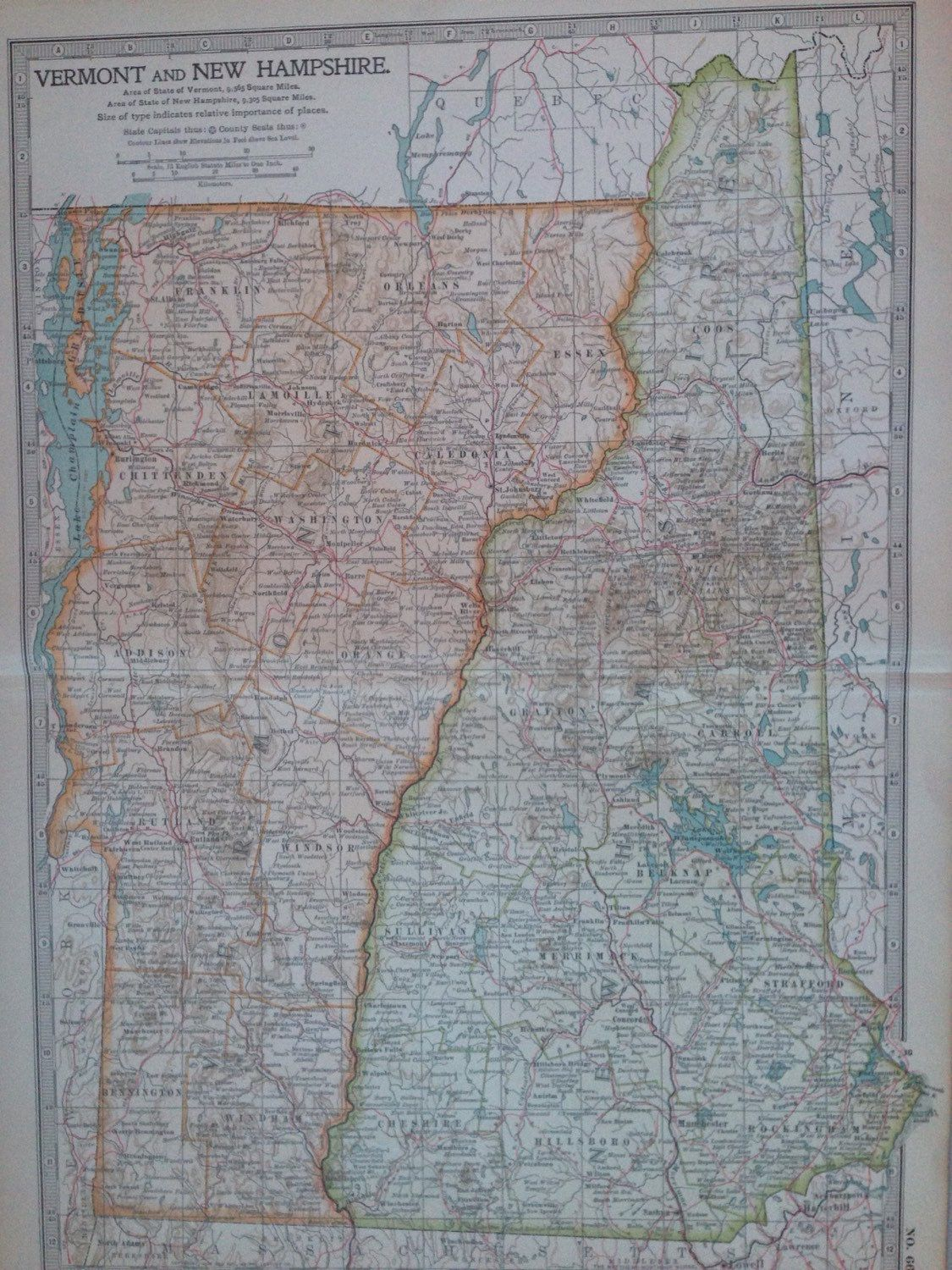 Nh Usa Map.1903 Vermont New Hampshire Original Large Antique Map Us State