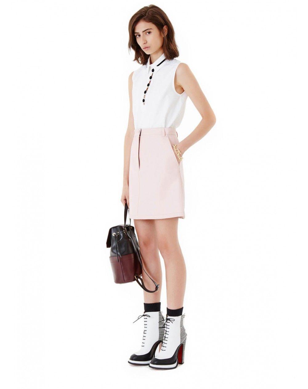 Jupe trapèze en agneau rose pale - femme - carven   blouses ... 253a62d92e4