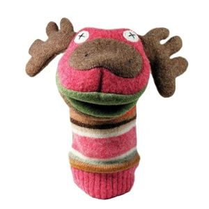 Reclaimed Wool Puppet Moose    Moose, eh? Tell the story of old sweaters turned into new toys with this adorable reclaimed wool puppet.  These puppets are made in Toronto.  Since each item is One Of A Kind, let us surprise you with one that is totally unique.