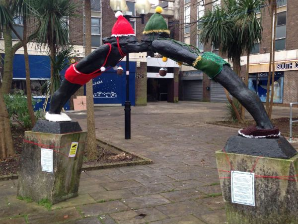 Fun festive yarn bombing near Preston Circus!