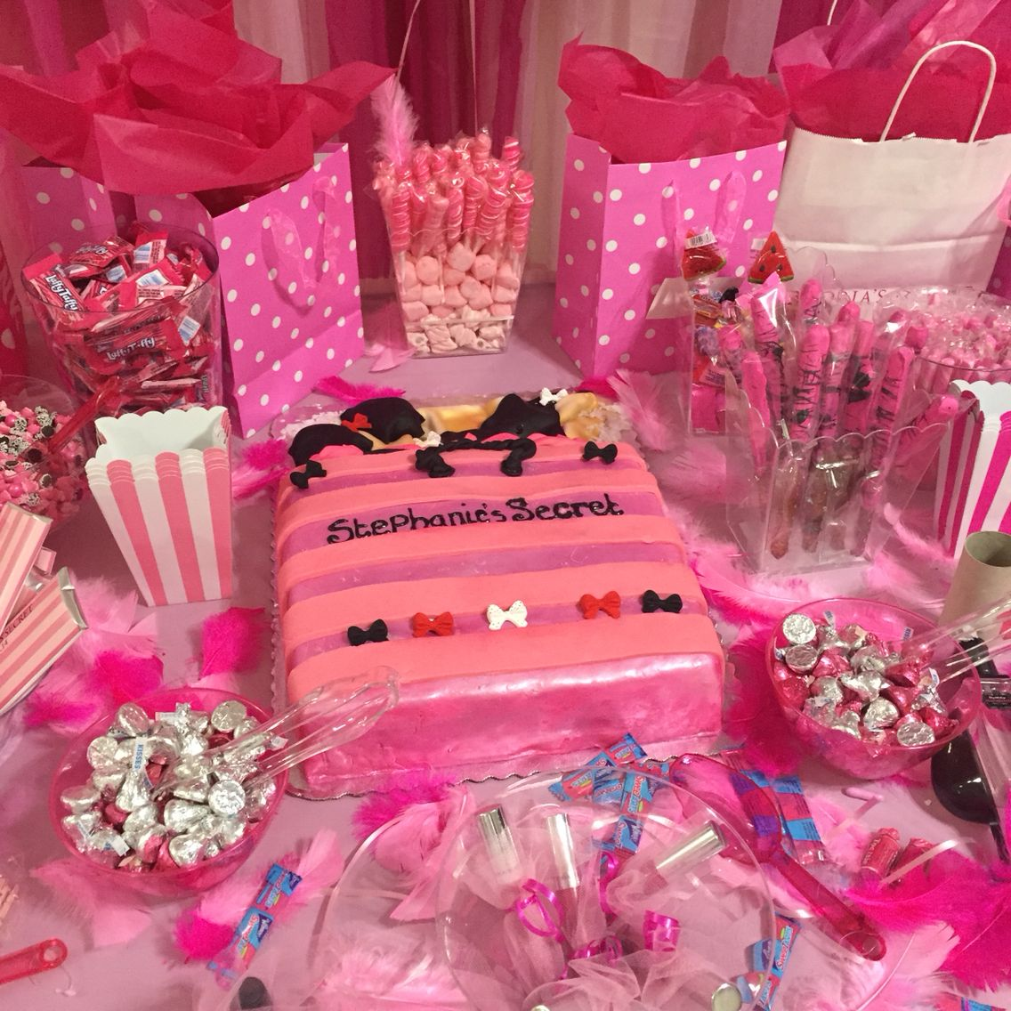 Candy buffet pink bridal shower Victoria's Secret