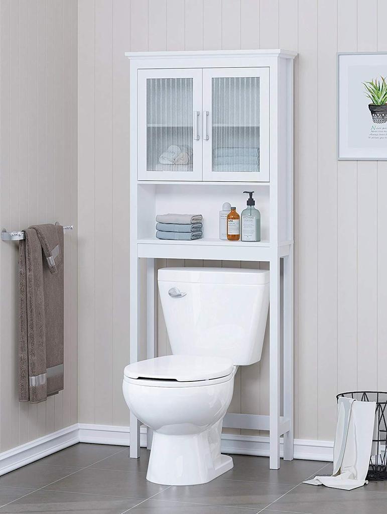Home Bathroom Shelf Over The Toilet Bathroom Cabinet Organizer With Moru Tempered Glass Door Whi Toilet Storage Bathroom Organisation Over The Toilet Cabinet