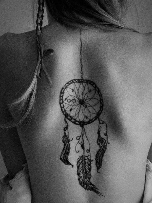 Sexy dreamcatcher back tattoo