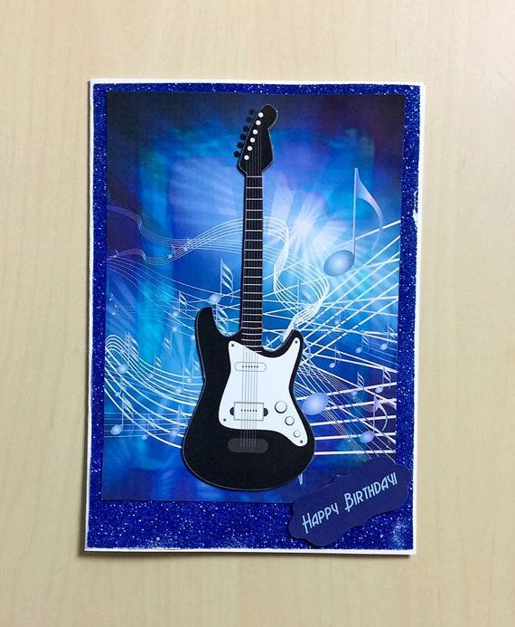 Guitar birthday card blue birthday card music card handmade guitar birthday card blue birthday card music card handmade card music lover guitar player card for her card for him music bookmarktalkfo Choice Image