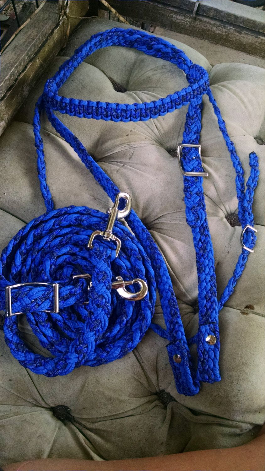Horse tack paracord bridle barrel reins large horse for Paracord horse bridle