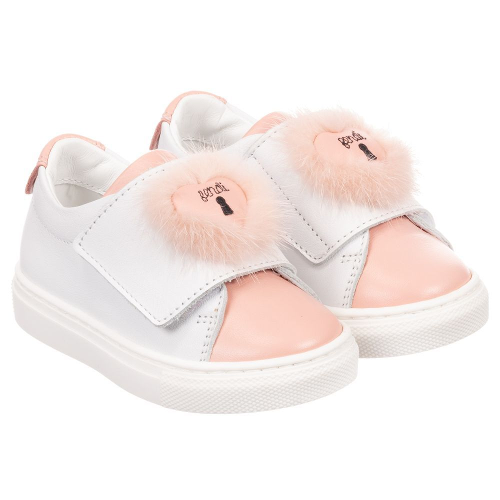 34d6e7486b1 Girls White   Pink Velcro Trainers for Girl by Fendi. Discover more ...