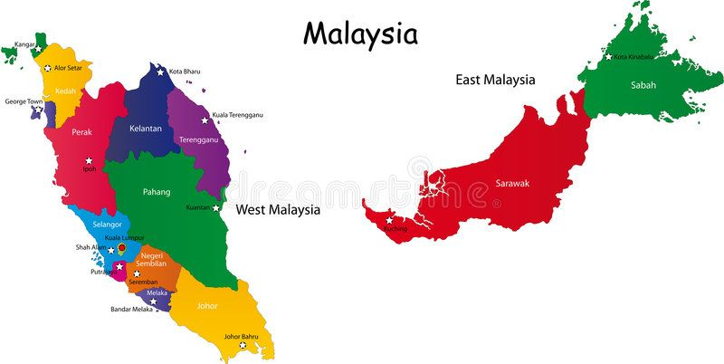 Malaysia Map Designed In Illustration With The Provinces And The Main Cities Ad Illustration Provinces Designed Mala Illustration Map Design Map